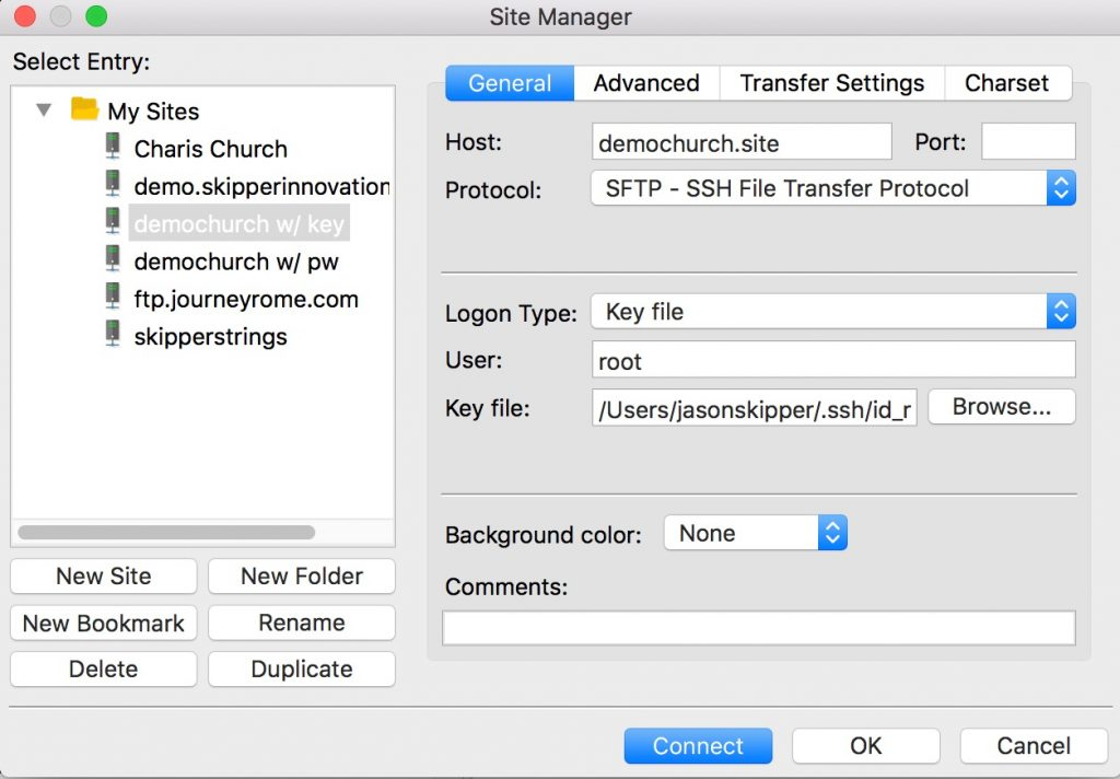 Setting up Filezilla to work with SSH keys